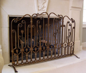Fire Screen. Forged steel with bronze lacquer