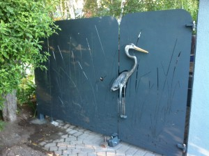 Heron Gate. Steel, paint and patina
